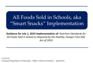 Foods Sold in Schools, aka - Colorado Department of Education