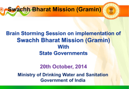 Swachh Bharat Mission (Gramin) - Department of Drinking Water