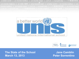 State of the School - United Nations International School