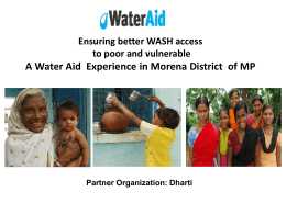 Ensuring Better WASH Access to Poor and Vulnerable