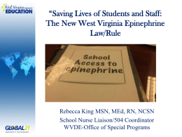 Epinephrine - West Virginia Association of School Nurses