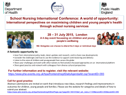 School Nursing International Conference: A world of opportunity