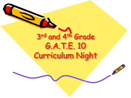 G.A.T.E. 10 Curriculum Night