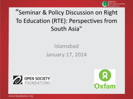 Seminar & Policy Discussion on Right To Education (RTE