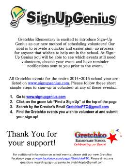 Sign Up Genius Handout