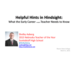 3-5-15 Helpful Hints in Hindsight