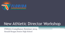 New Athletic Director Workshop - Florida High School Athletic