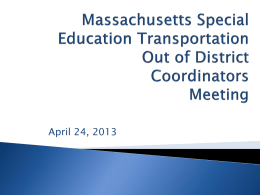Massachusetts Special Education Transportation Project 2012-2013