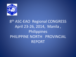 8th ASC-EAO Regional CONGRESS April 23