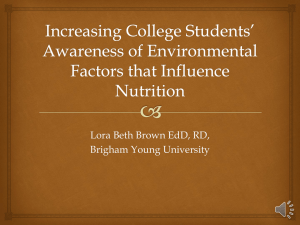 Increasing College Students* Awareness of Environmental Factors
