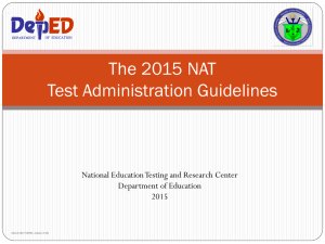 The 2012 NCAE Test Administration Guidelines