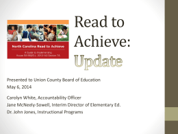 Read to Achieve: Update - Union County Public Schools