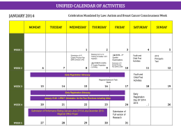 Unified Calendar of Activities 2014
