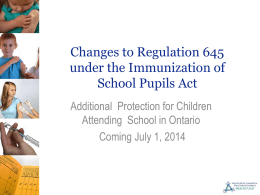 Changes to Immunization of School Pupils Act