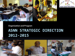 ASNN Strategic Direction 2012-2015 Organization and Program