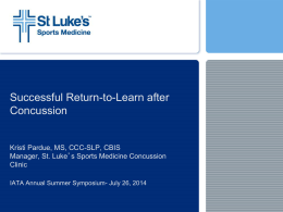 Successful Return to Learn After Concussion