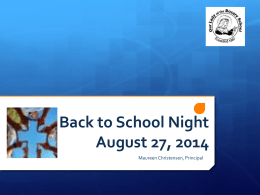 Back to School Night August 27, 2014