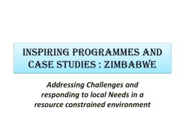 INSPIRING PROGRAMMES AND CASE STUDIES : zimbabwe