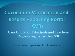 CVR - Louisiana Department of Education