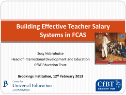 Building Effective Teacher Salary Systems in FCAS
