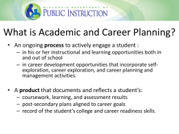 Academic and Career Plans