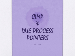 CIMP & DUE PROCESS POINTERS - Anoka