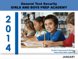 Test Security Supplement - Girls and Boys Preparatory Academy
