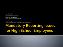 Mandatory Reporting High School