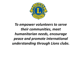 Power Point Introduction Lions Vision Screening