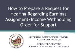 Request for Hearing Regarding Earnings Assignment