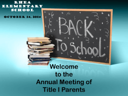 Annual Title I Parent Information