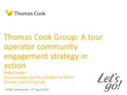 Thomas Cook Group: A tour operator community engagement