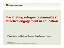 Facilitating refugee communities` effective engagement in