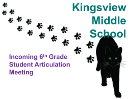 Kingsview Middle School Incoming 6 th Grade Student Articulation