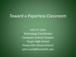 Toward a Paperless Classroom - Forest Hills School District