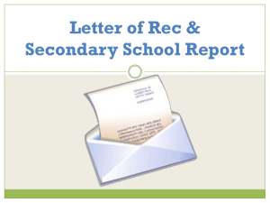 Letter of Recommendation & Common Application Procedure