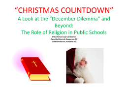 HOLIDAYS AND RELIGIOUS CONSIDERATIONS