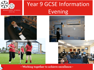 Year 9 GCSE Information Evening