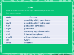 Modal Modals are auxiliary verbs which are used to
