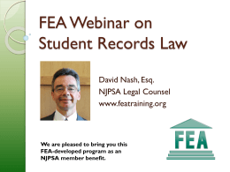 FEA Webinar on Student Records Law