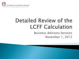Detailed Review of the LCFF Calculation -