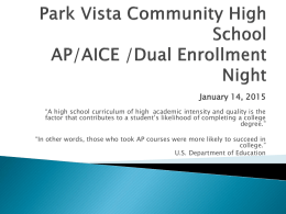 Dual Enrollment - the School District of Palm Beach County