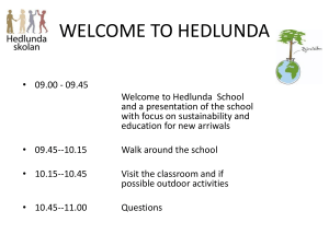 WELCOME TO HEDLUNDA