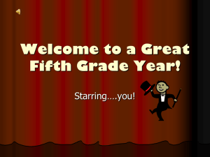 Welcome to a Great Fifth Grade Year!