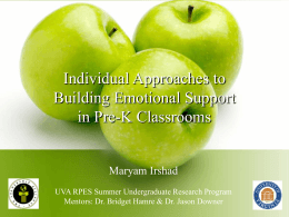 Individual Approaches to Building Emotional Support in Pre