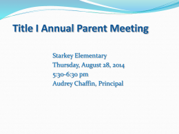Title I Parent Meeting Power Point