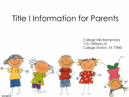 Title I information for parents