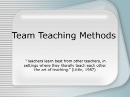 Team Teaching Methods - Pasco County Schools