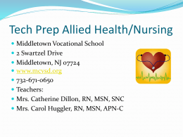 Tech Prep Nursing - Monmouth County Vocational School District