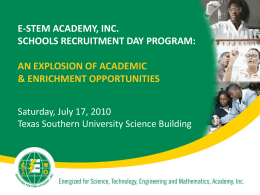 E-STEM Academy, Inc. Schools Recruitment Day Program: An